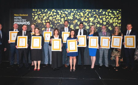 Group photo of NZ Hotel Industry Awards winners